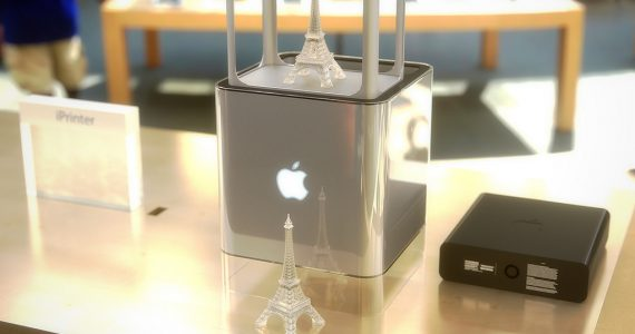 A rendering of a potential Apple 3D printer by designer Martin Hajek, with a 3D printed Eiffel tower. Image via Martin Hajek.