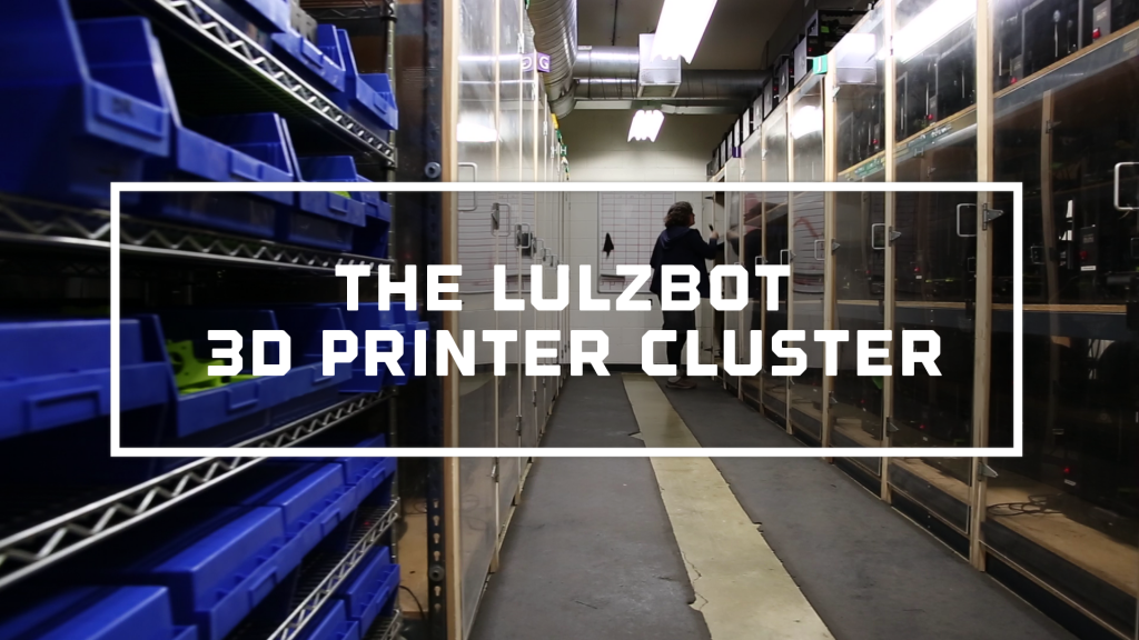 At Aleph Object's HQ in Colorado, 150 LulzBot 3D printers work night and day to make spare parts including cogs and frame fittings. Image via LulzBot