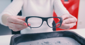 Pair of GlassesUSA frames SLS 3D printed using Sinterit Lisa. Photo via Sinterit.