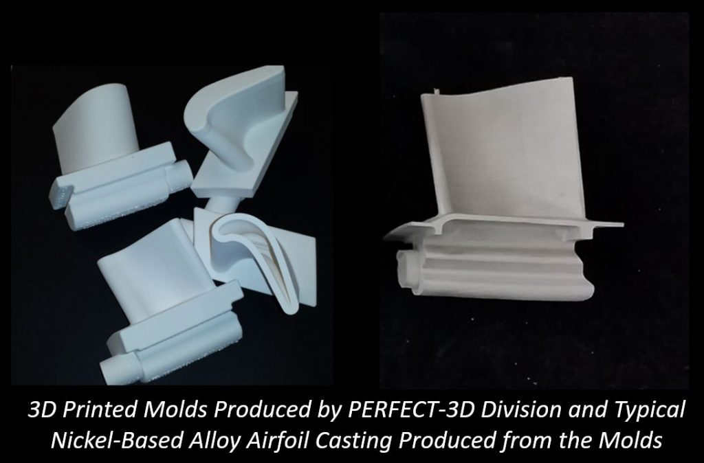 3D printed vs. traditional bold casting of an airfoil. Image via Renaissance Services.