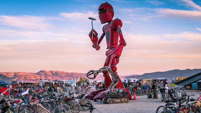 Robot at Burning Man 2015 Black Rock City. Photo via Burning Man.