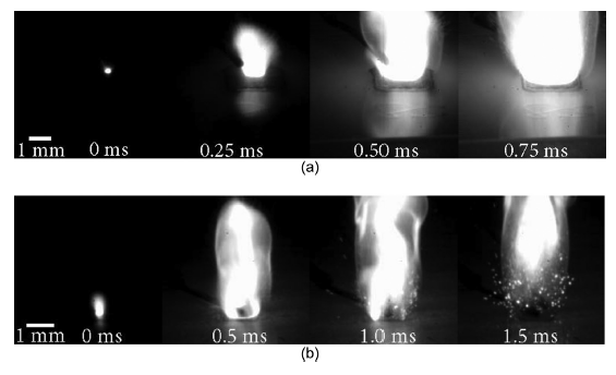(a) Ignition of a 5 later, dual extrusion sample, (b) Ignition of a 5 later, single extrusion sample. Image via Purdue University.