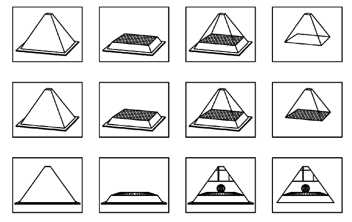 A series of diagrams from the system's US Patent application, showing how a 3D printed pyramid object is scanned mid-process or destructively, and then compared using RGB levels. Image via US Patent Office.