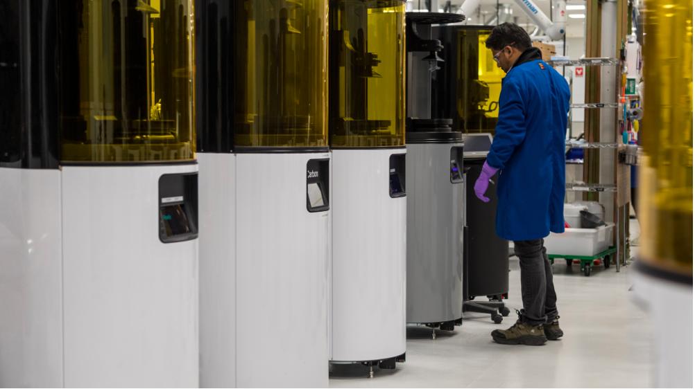 Carbon DLS M2 3D printers. Image via Incase.