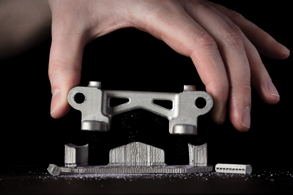 Desktop Metal 3D printed parts can virtually be removed by hand thanks to its support ink system. Photo via Desktop Metal