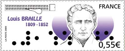 A Stamp of Louis Braille, the inventor of braille script on a commemorative stamp. Image via GIAA.