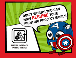 XYZ introduces Resuming Printing feature with the help of a Captain America owl. Image via XYZprinting