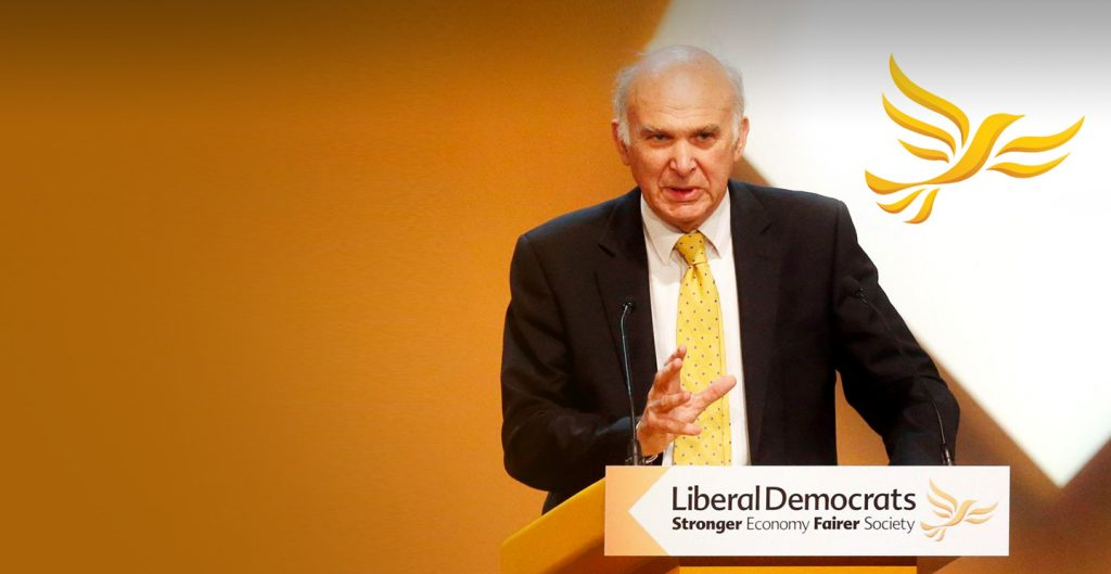 Vince Cable, leader of the Liberal Democrats.