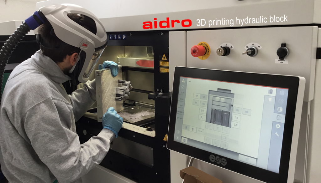 Metal 3D printing on an EOS M290. Photo via Aidro.