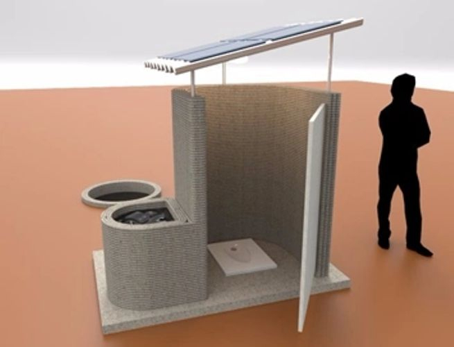 Hamilton Labs' 3D printed toilet design complete with energy genertaing solar panel roof. Image via Hamilton Labs