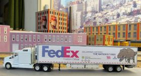 "Scale model of FedEx's T-Rex trailer used to transport ""The Nation's T-Rex"" to the Smithsonian in 2014. Photo via 1-87vehicles"