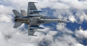 F/A-18 Super Hornet fighter plane in flight. Photo via the Finnish Air Force