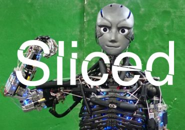 Sliced logo over Kenshiro, the University of Tokyo's humanoid workout robot, made with 3D printed parts. Original photo via University of Tokyo