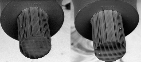 LLNL's process can 3D print microstuctures taller than 200 microns, still holding features measuring less than less than 150 nanometers. Photo by James Oakdale/LLNL.