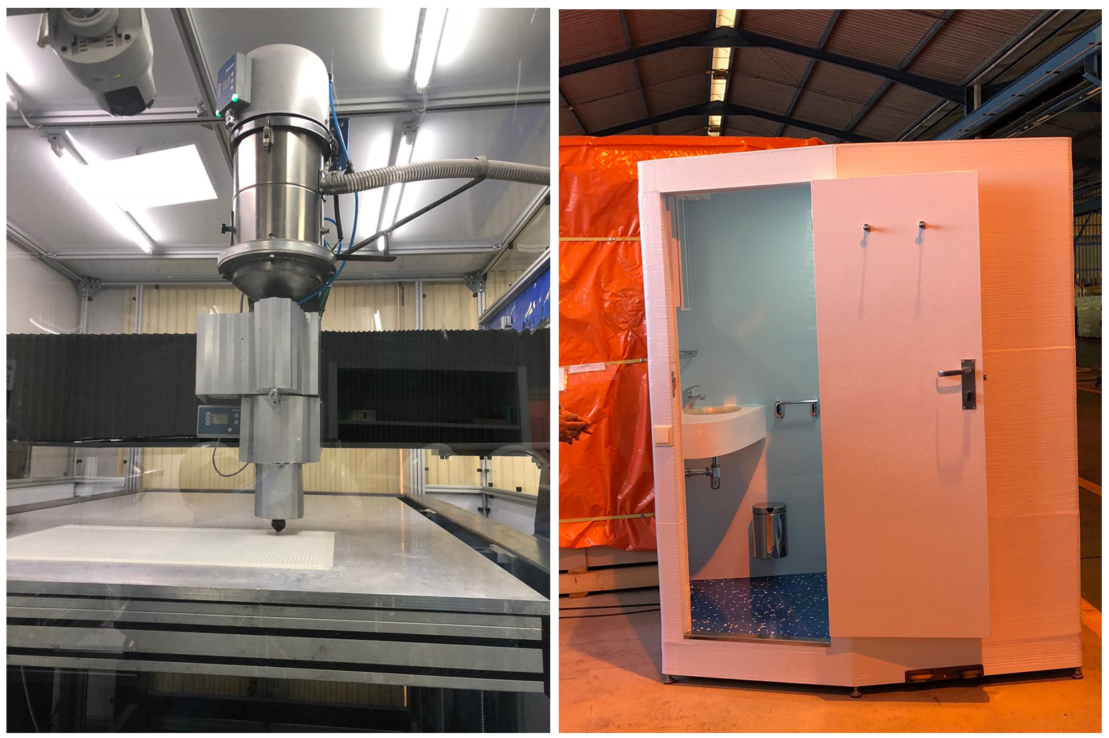 Right: Navantia and UCA's purpose-built 3D printer. Left: first product of the 3DCabin, modular toilet, project. Photos via Navantia