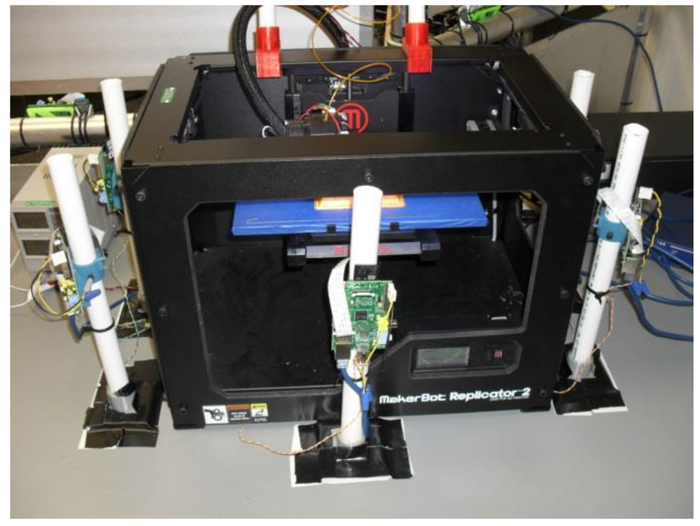 The patented system with a Makerbot replicator. Photo via NDSU.