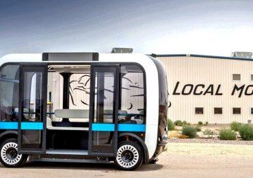An Olli bus outside Local Motors, Arizona. Photo via Motor Motor Car