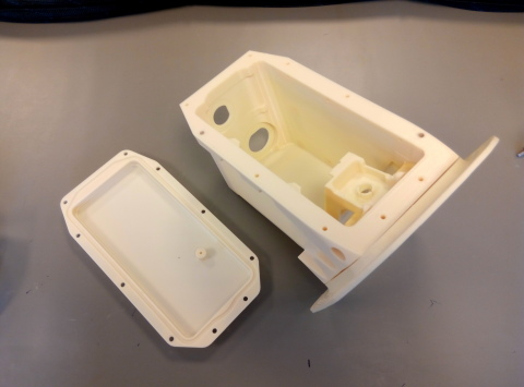3D printed camera case prototype for the Airbus A380, produced on Stratasys' Fortus 450mc. Photo via Latécoère.
