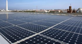 Rooftop solar panels in Washington, DC. Photo via US DOE.