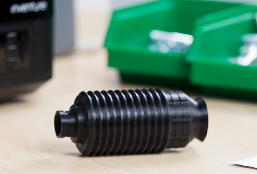 A universal joint rubber boot 3D printed in Z-SEMIFLEX. Photo via Zortrax