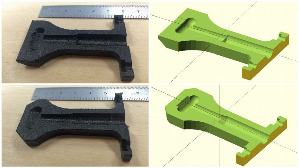 Model of the slot die 3D printed in two halves. Image via Beeker, Pringle and Pearce