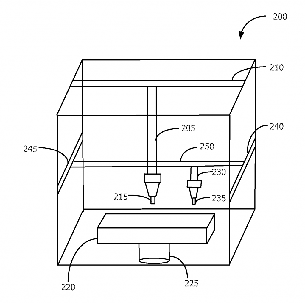 One iteration of the full color 3D printer, where material is colored after extrusion. Image via US Patent Office.