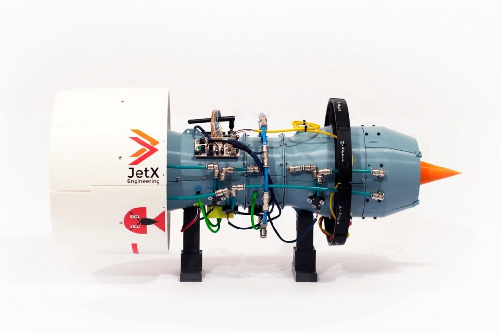 The complete X-Plorer 1 jet engine model is made of 515 individual, moving, 3D printed part. Photo via JetX Engineering