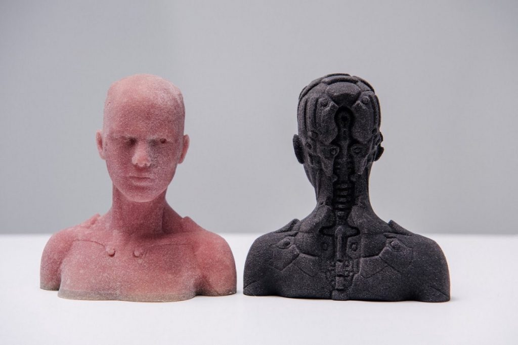 Frosted 3D prints of Kwambio's opaque glass material. Photo via Kwambio