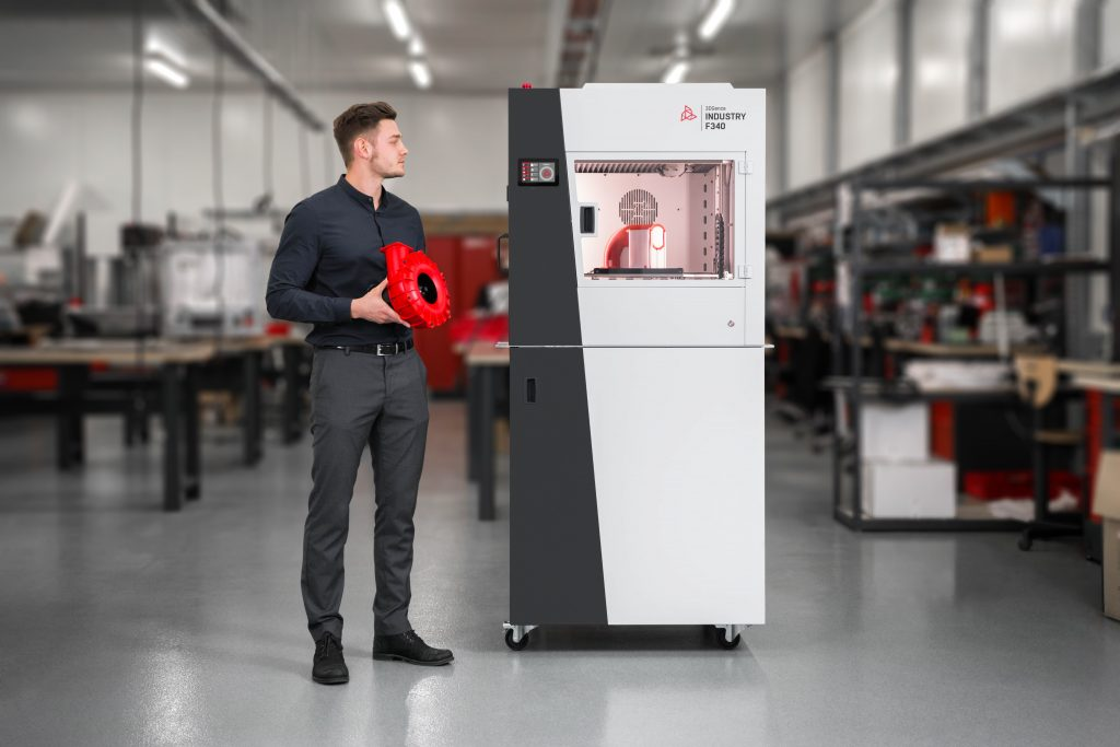 The INDUSTRY F340 professional FFF 3D printer is a versatile production unit for industrial workshops. Image via 3DGence