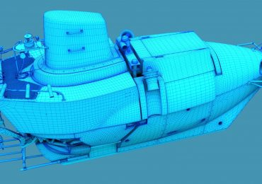 Graphic mock-up of the next generation Alvin deep-sea explorers submarine to be made using syntactic foam. Image via DD3D Studio