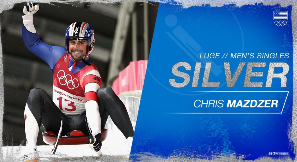 Chris Mazdzer won Silver in the men's singles Luge. Image via Team USA.