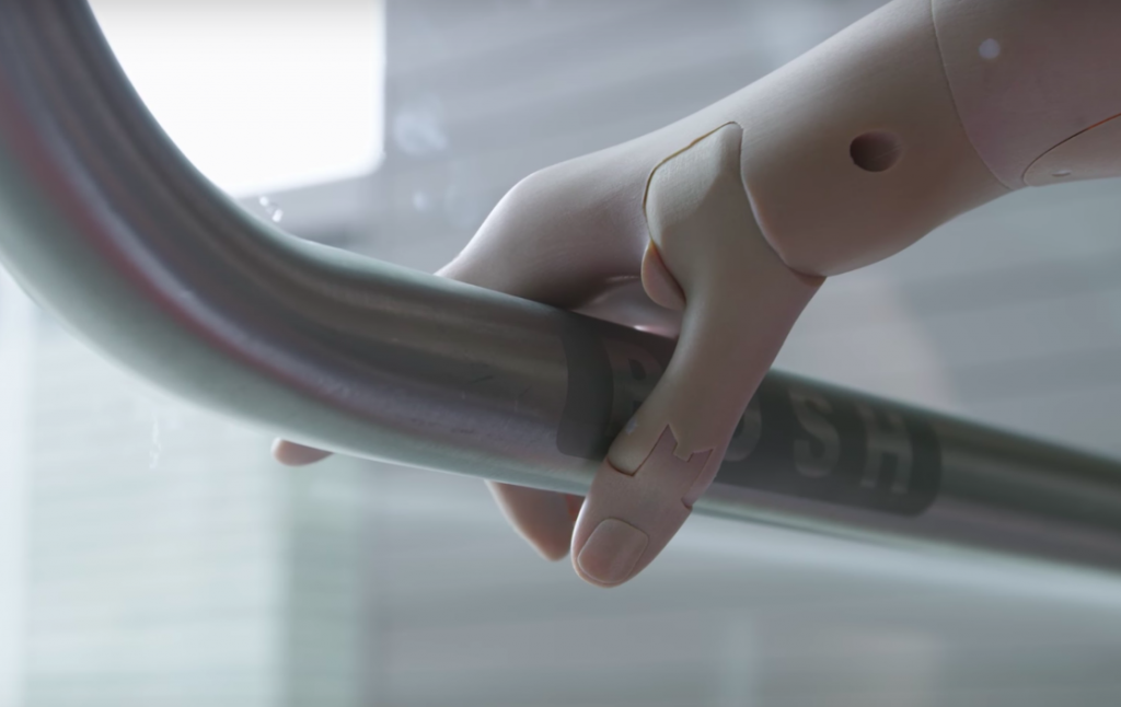 Close-up of a prosthetic arm from Unlimited Tomorrow. Photo via Unlimited Tomorrow.