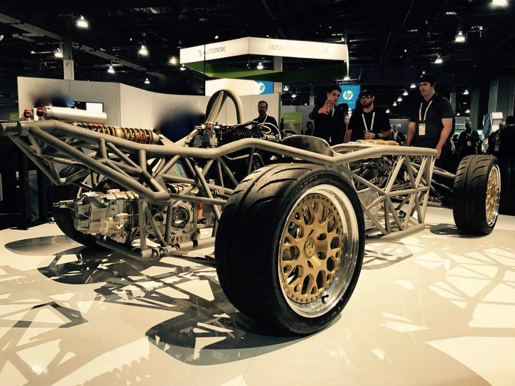 Hackrod's first AI designed car on display at Autodesk University 2016. Photo via Hackrod CEO Mouse McCoy