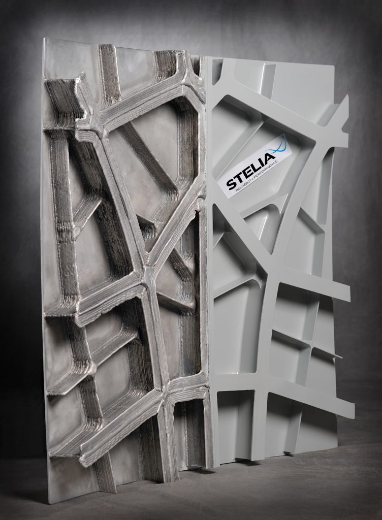 The Project DEFACTO WAAM made fuselage panel. Photo via STELIA Aerospace