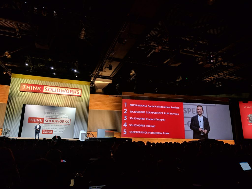 Gian Paolo Bassi and the 5 announcements from SOLIDWORKS World 2018. Photo by Michael Petch.