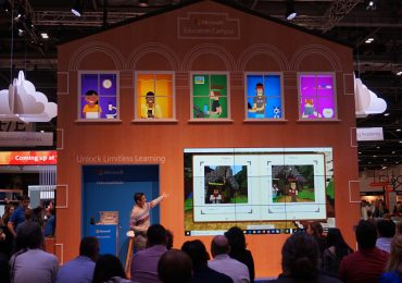 A presentation at the Microsoft Learning Academy on incorporating Minecraft into learning at BETT 2018. Photo by Rushabh Haria.