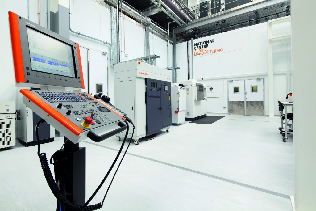 Renishaw 3D printing system inside the National Centre for Additive Manufacturing. Photo via the MTC