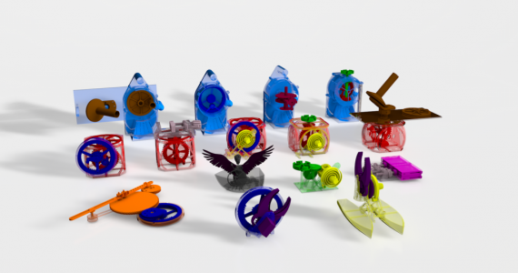 Possible models that can be designed and 3D printed from parent objects. Photo via HPI.