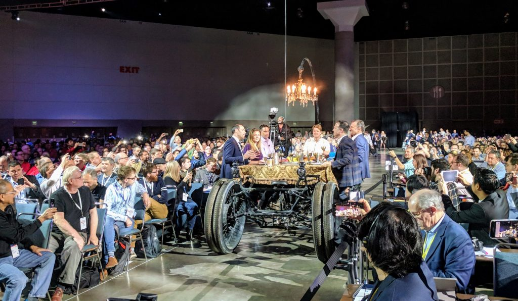 SOLIDWORKS and Dassault Systemes executives ride into SOLIDWORKS World 2018. Photo by Michael Petch.