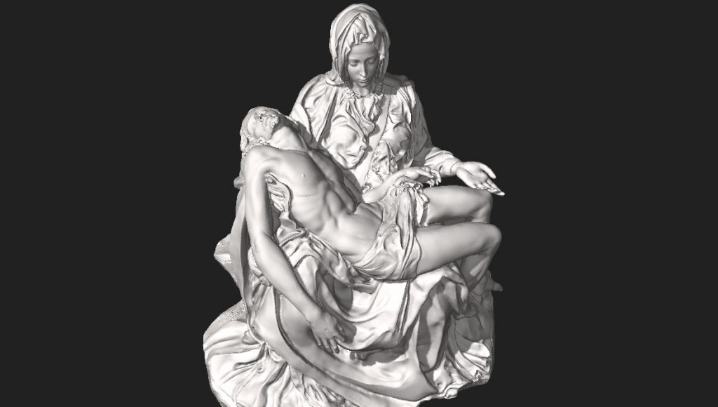 Pietà by Michelangelo is now viewable as a 3D model on Wikimedia. Scanned and digitally recreated by Scan the World.