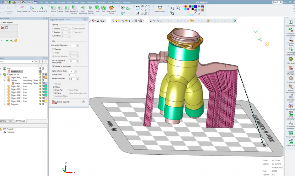 Support structures can be edited freely to suit each 3D print job. Image via 3D Systems.