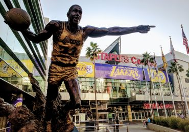 The 3D printing magic is back for 2018. Magic Johnson statue outside LA Staples Center. Photo by Michael Petch.