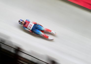 Team USA's Emily Sweeney on the Luge track in Pyeongchang. Photo via AP.