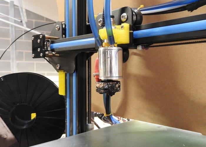 Eaglestone's water-cooled 3D print head. Photo via Brian Eaglestone.