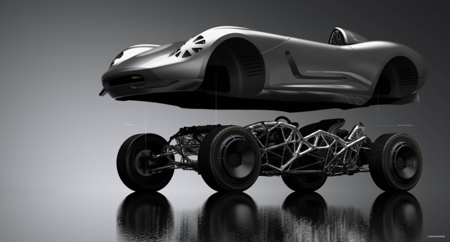 Deconstruction of 'La Bandita' the first car to be designed by Hackrod. The lightweight speedster has 3D printed chassis and recycle Tesla components. Image via Hackrod