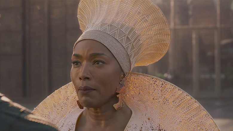 Queen Ramonda is played by Angela Bassett in the upcoming 2018 Black Panther film. Here Bassett wears the 3D printed shoulder piece and matching headdress. Image via Marvel