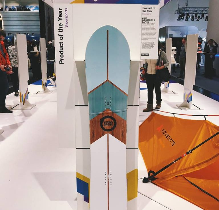 CAPiTA's Spring Break snowboard with FUS3D technology at the ISPO show. Photo via CAPiTA on Facebook.