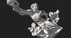 A 3D model of the Laocoön Group at the Vatican Museums, Vatican City. Image via Scan the World/Wikimedia Commons
