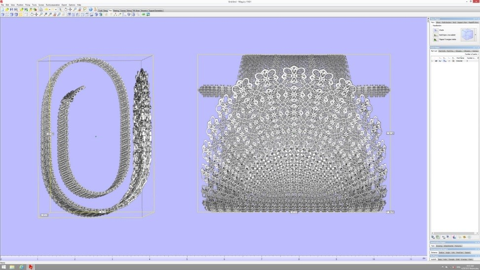 A Chain Dress prepared for slicing in the materialise build processor. Image via Materialise.