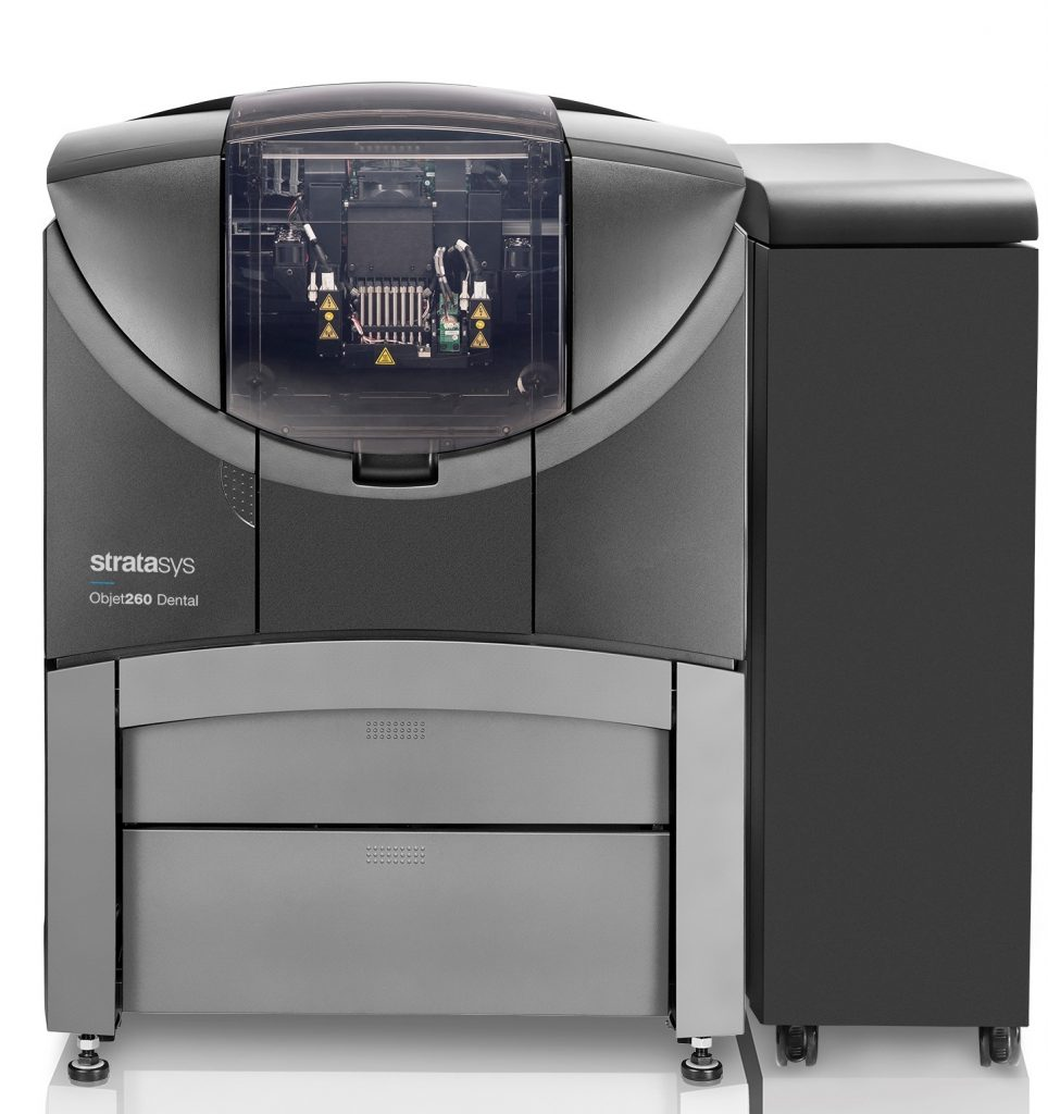 The Objet260 Dental 3D printer. Photo via Stratasys.